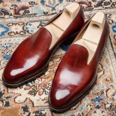 Handmade Men burgundy leather loafers, Men slipons,Men's loafers shoes,Men style