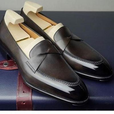 Handmade Elegant loafers for men, High Quality Cowhide leather Loafers for men, Summer Shoes