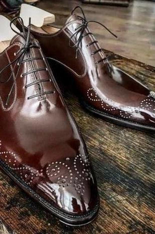 New Handmade Men American Luxury Brogues Tip Leather Dress Shoes, leather sheos