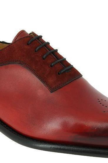 Handmade men suede shoes, brogue toe red leather shoe for men, dress shoes men