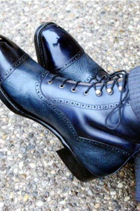 Two Tone High Ankle Rounded Cap Toe Genuine Leather Lace up Boots for Men's