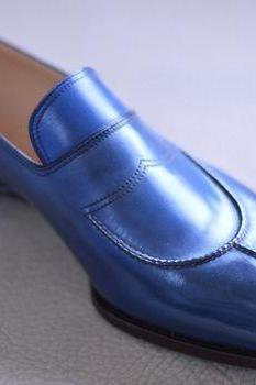 Blue Moccasin Loafer Slip Ons Magnificiant Leather Handmade Men Classical Shoes
