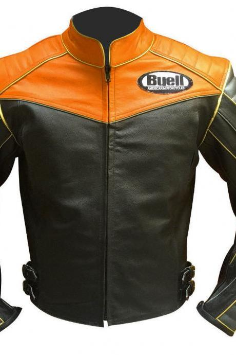Men's Buell Motorcycle Leather Jacket, Handmade Black Tan Jacket With CE Armour