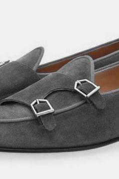 New Men Gray Suede Double Strap Handmade Monk Dress Shoes, Double Buckle Shoes