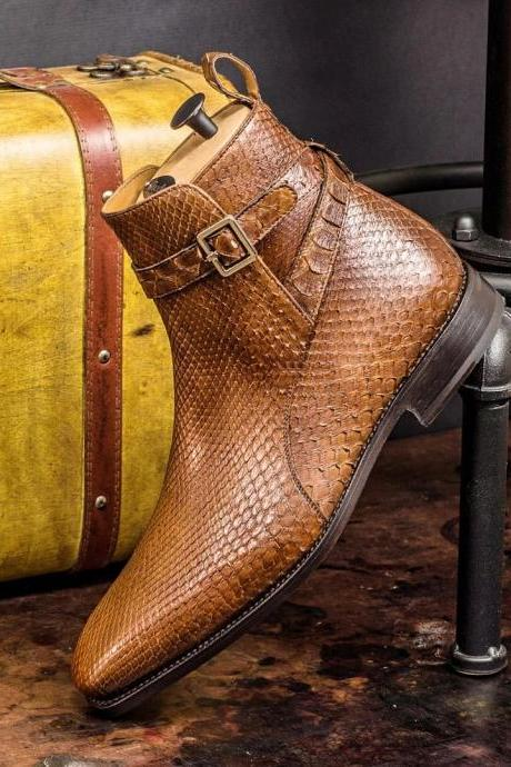 PURE LUXURY. Goodyear Welted, Genuine Python Jodhpur Boot