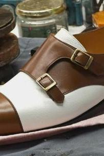 New Men Handmade White Brown Faux Leather Double Monk Shoes