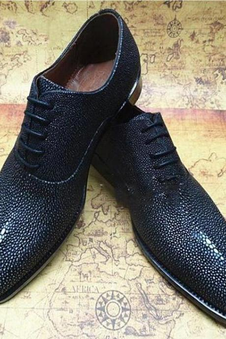 New Handmade Men Stingray Fish leather Oxford shoes