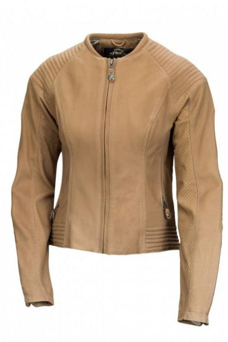 New Women's Custom Made Tan Leather Bomber Zipper Style Real Cowhide Leather Biker Jacket