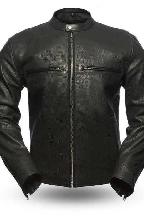 First manufacturing Men's Leather Jacket, Perforated cowhide