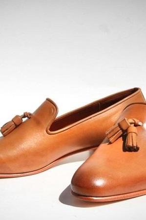 Beautiful Brown Tan Leather Tassels Loafer Shoes For Sale