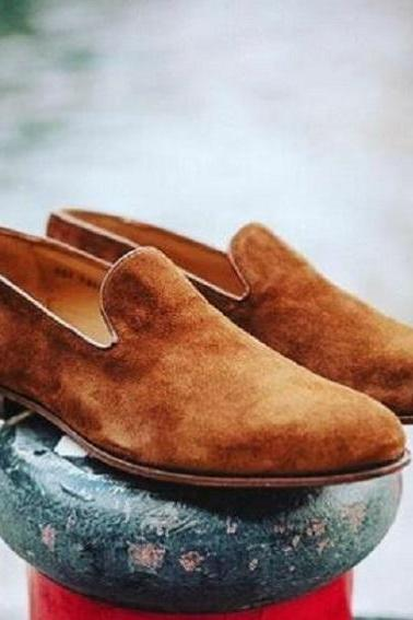 Handmade men beige shoes, men moccasin slip on shoe, dress shoes men, leather