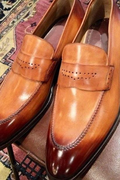 Two Tone Leather Coolest Finishing Best Handmade Penny Loafers Shoes For Gentleman