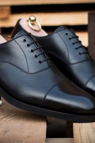 Best Finishing Black Leather Lace Up Handmade Formal Shoes Collection For Men's