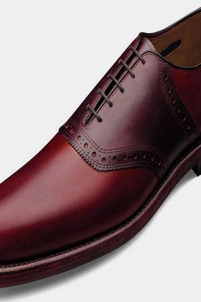 Step Above Pretty Nice Red Color OXFORD Bona Fide LEATHER Men Formal Party Shoes
