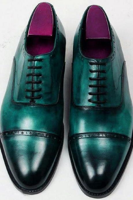 Jewel Green Oxford Patina Real Leather Cap Toe Men Formal LEATHER Wedding Shoes