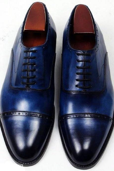 Space Blue Oxford Patina Real Leather Cap Toe Men Formal LEATHER Wedding Shoes
