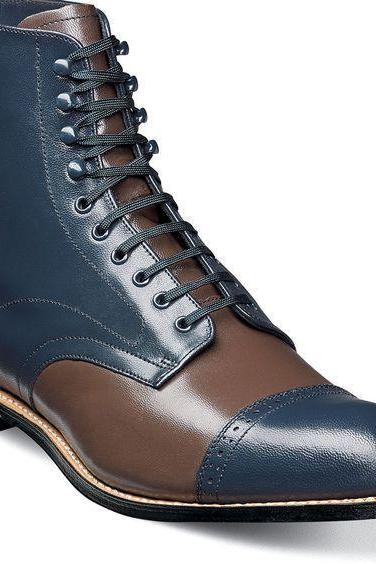 Handmade Men's Brown Blue Leather Cap Toe Ankle Boots, Men Designer Fashion Boot
