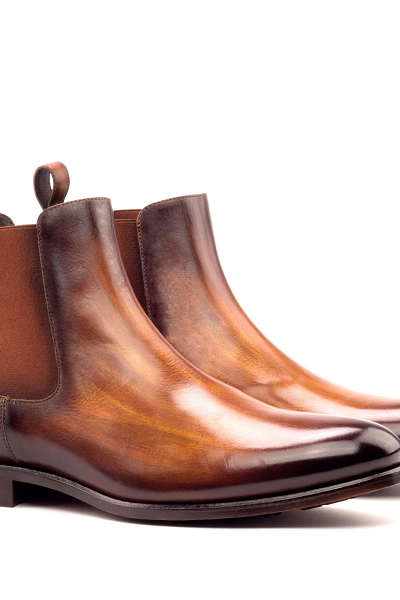 Handmade Cognac Patina Chelsea Leather Custom Boots For Men