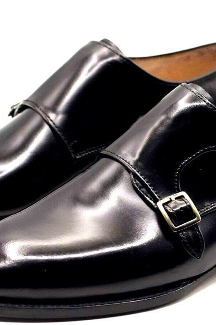 MONK Style Classic Shape Chocolate Brown Patina Premium LEATHER Business Shoes