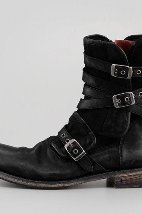 Handmade Cowhide Leather Men's Retro Multiple Buckle Retro Ankle Boots