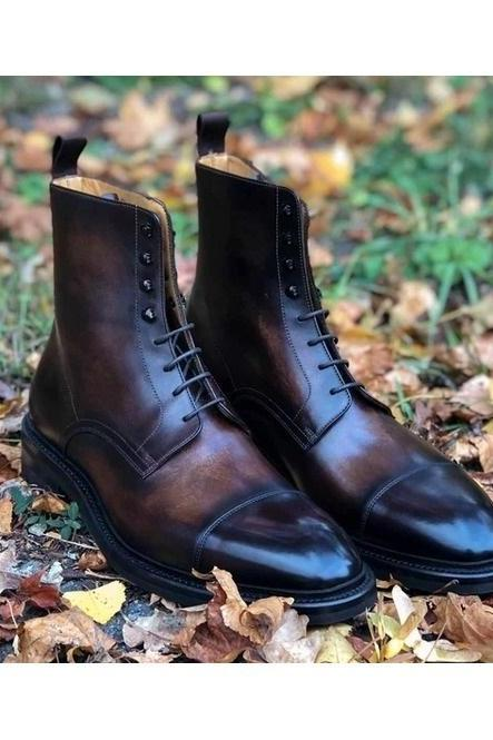 Handmade Mens Brown Handmade Burnish Cap Toe Boots, Men Lace up Ankle Boot