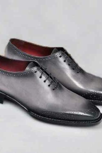 Handmade Men's Genuine Grey Leather Whole-Cut Lace Up Oxford Brogue Shoes