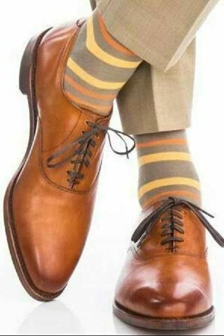 Mens Handmade Brown Brogues Cap Toe Oxford Lace Up Formal Dress Leather Shoes