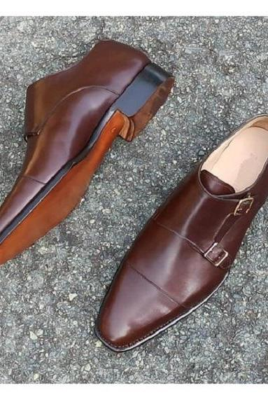Handmade Mens Double Monk Brown Dress Shoes, Brown Oxford Shoes for Men