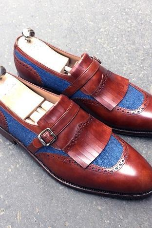 Men's Handmade Brown Blue Color Fringe Monk Straps Leather Shoes
