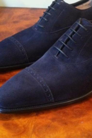 Men's Navy Blue Suede Oxfords Cap Toe Lace Up Formal Handmade Shoes