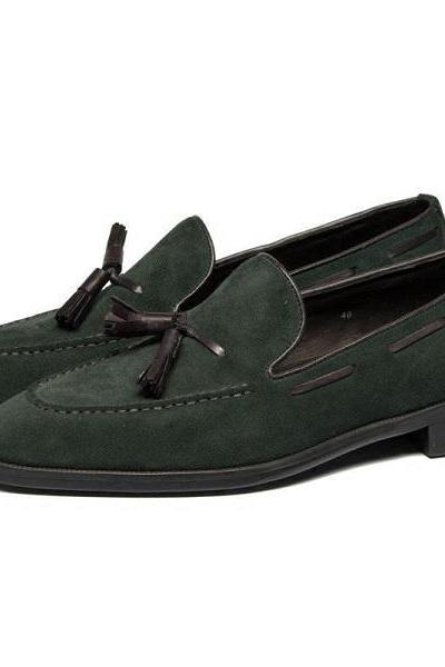 Apron Toe Handmade Premium Leather Tassel Loafer Slip Ons Men Green Color Shoes