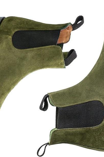 Handmade Chelsea Suede Boots, Green Chelsea Boot For Men's, Fashion Ankle Boots