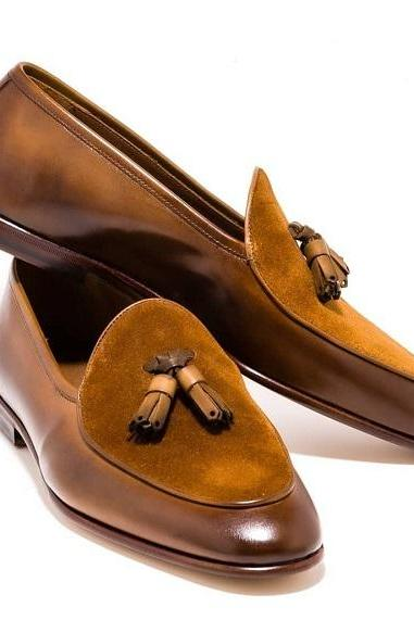 Handmade Men's Bespoke Brown Tussle Ankle Leather Shoes