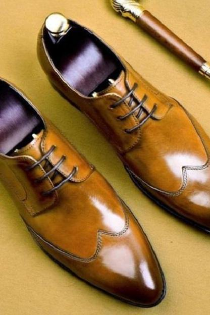 Handmade Men's Bespoke Brown Lace up Ankle Leather Shoes