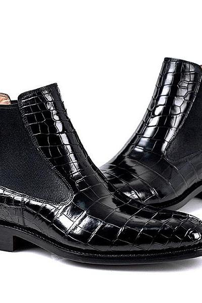 Handmade Leather shoes,Formal Crocodile Texture Leather Men black crocodile shoes