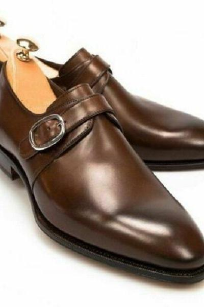 Mens Handmade Shoes Oxfords Brown Leather Monk Formal Dress Casual Wear Boot New