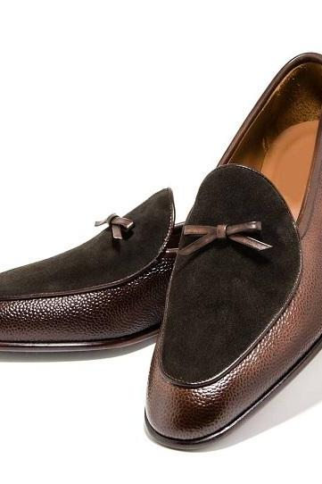 Hand Crafted Men's Brown Tussles Loafers Shoes,Men's Leather Suede Dress Shoes