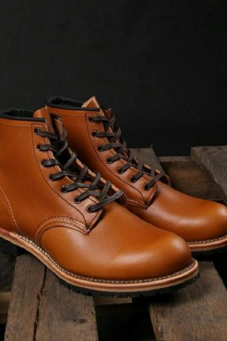 Handmade Men Tan Leather Casual Boots, Men Ankle High Boots, Men Tan ankle Boots