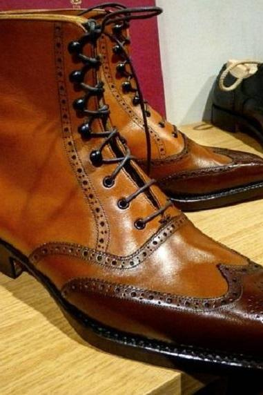 Men brown Leather Wingtip ankle leather boot Men hand burnish leather ankle boots