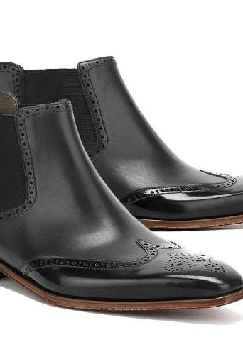 Handmade Men's Black Ankle Wing Tip Chelsea Leather Boot For Men's
