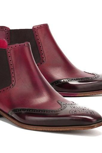 Handmade Men's Burgundyr Ankle Wing Tip Chelsea Leather Boot For Men's