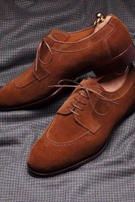 New Handmade Men's Tan Color Dress Lace Up Suede Round Toe Shoes