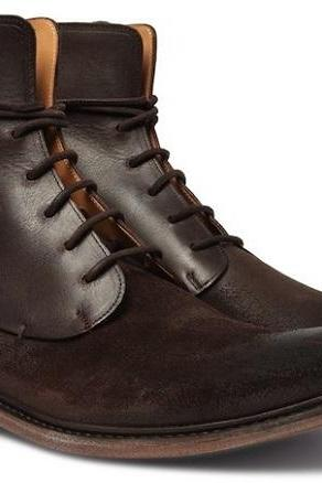 Men's fashion brown Leather Boots Men Designer Leather Suede boots, Formal boots