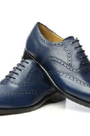 Handmade Men's Navy Blue Wing Tip Heart Medallion Dress Leather Oxford Shoes