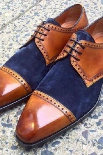 Handmade Men's Brown Leather & Blue Suede Dress/Formal Oxford Shoes