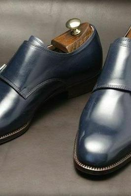 Handmade Men's Navy Blue Double Monk Strap Leather Dress/Formal Shoes