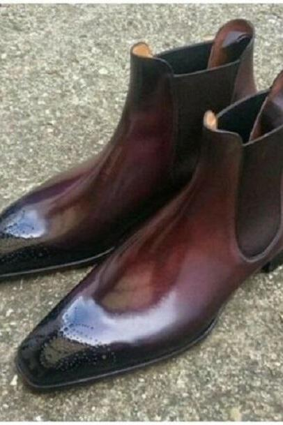 Handmade Men's Burgundy Burnished High Ankle Brogues Chelsea Leather Boots