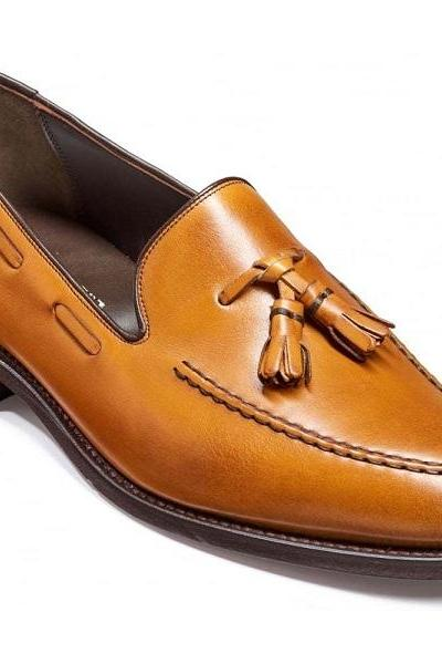 Men's Brown Tassel Loafer Rounded Toe Party Wear Handmade Genuine Leather Shoes