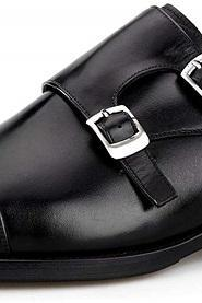 Men's Handmade Genuine Leather Double Monk Strap Slip On Oxfords Dress Shoes