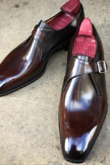 Men's Monks Brown Single Buckle Strap Premium Quality Leather handcrafted Shoes